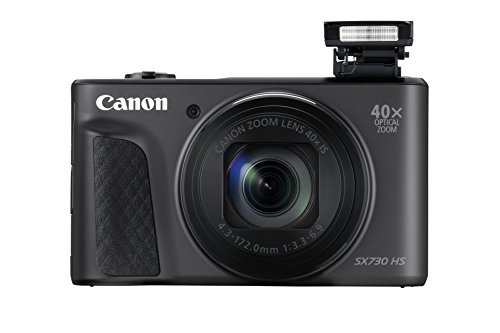 Canon PowerShot SX730 HS Digitalkamera (20,3 MP, 40-fach optischer Zoom, 80-fach ZoomPlus, 7,5cm 7,5cm (3,0 Zoll) klappbares Display, CMOS-Sensor, DIGIC 4+, Full-HD, WLAN, NFC, Bluetooth), schwarz