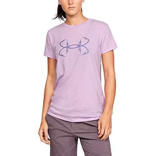 Under Armour T-Shirt de Sport à Manches Courtes pour Femme avec Logo Fish Hook - Violet Ace (543)/Violet Luxe, XS
