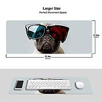 パグ 犬 立体メガネ マウスパッド キーボードパッド 滑らかマウスパッド ゲーミングパッド 大型 オフィス 家庭用