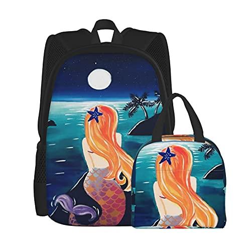 Mer_Maid Mo_On - Juego de mochila para ordenador portátil universitario, bolsa de hombro, bolsa escolar con bolsa de almuerzo de 2 piezas, Negro, Talla única