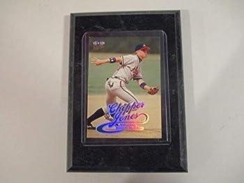 CHIPPER JONES ATLANTA BRAVES 1999 MLB FLEER ULTRA PLAYER CARD MOUNTED ON A 4  X 6  BLACK MARBLE PLAQUE