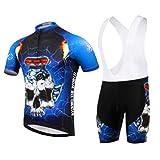 Ropa de Ciclismo Equipos de Ciclismo al Aire Libre para Hombres Bicicleta Ropa Deportiva Camisa de Manga Corta de Verano + Pantalones Cortos con Correa Talla M Color 1107