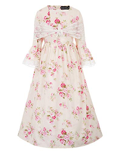 Pioneer Colonial Girls Pilgrim Costume Prairie Dress 9Y Color-1
