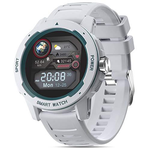 moreFit Orologio da polso, con touch screen, orologio sportivo rotondo con cardiofrequenzimetro, cronometro, sveglia, impermeabile, contapassi, per uomo e donna, compatibile con iOS e Android