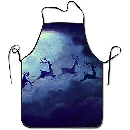Water-wave Grembiule da cucina Grembiule da cucina Bavaglino Grembiule Luna Babbo Natale e Renna Grembiule da Cuoco Home Easy Care