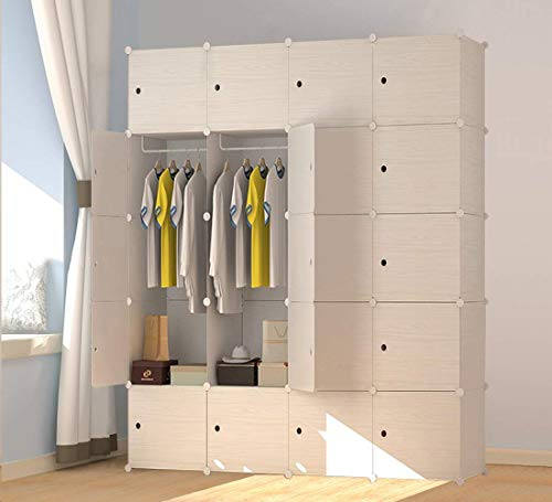 JOISCOPE Wood Pattern Portable Wardrobe Closet for Hanging Clothes,Combination Armoire, Modular Cabinet for Space Saving, Ideal Storage Organizer Cube for Books, Toys, Towels (20-Cube)