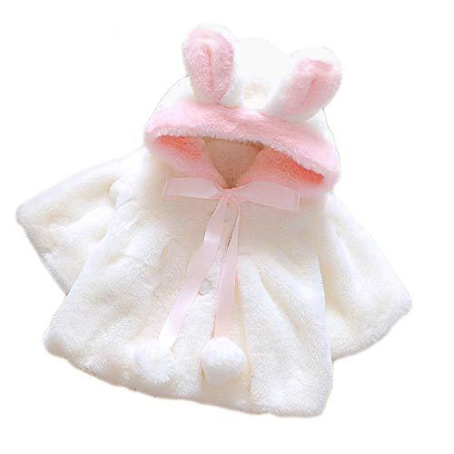 Mignon moelleux peluches fourrure bébé enfant jeune fille hiver chaud capuche cape manteau veste taille 80 pour 0-1 ans blanc