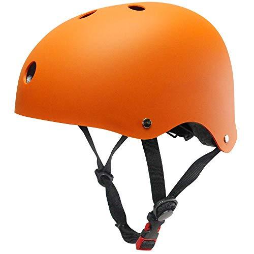 Kinder Fahrradhelm Rollerhelm ABS Schale für Radfahren Skateboard Bike BMX (Orange, M)