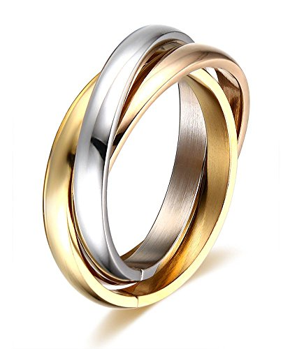 VNOX Ring for Women Triple Interlocked Rolling High Polish Ring for Women Stainless Steel Gold/Rose Gold Plated Stackchable Ring,Christmas/Birthday, for Her