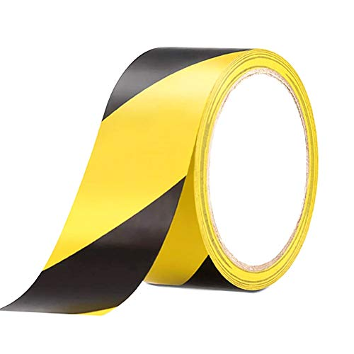 Cinta Adhesiva de Advertencia 33m×48mm Cinta de Señalizaciónpara Marcar Distancia de Seguridad en el Suelo, Amarillo y Negro. (Raya)