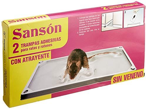 Sansón Trampas Adhesivas para Ratas y Ratones con Atrayente, sin Veneno, 2 Bandejas