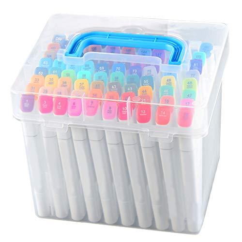 Caja de almacenamiento transparente para rotuladores y bolígrafos Yanhonin de 80 ranuras, para manualidades, oficina, hogar, escuela, estudiantes, suministros