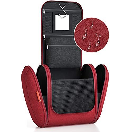 Kulturbeutel XXL [Design 2020] Kulturtasche für Männer und Frauen [7 Liter Stauraum], Kosmetiktasche für Mann und Frau, Waschtasche, Waschbeutel zum Aufhängen für Damen & Herren (Bordeauxrot)