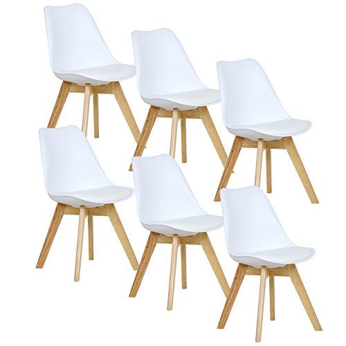 WOLTU® 6er Set Esszimmerstühle Küchenstuhl Design Stuhl Esszimmerstuhl Kunstleder Holz Weiß BH29ws-6