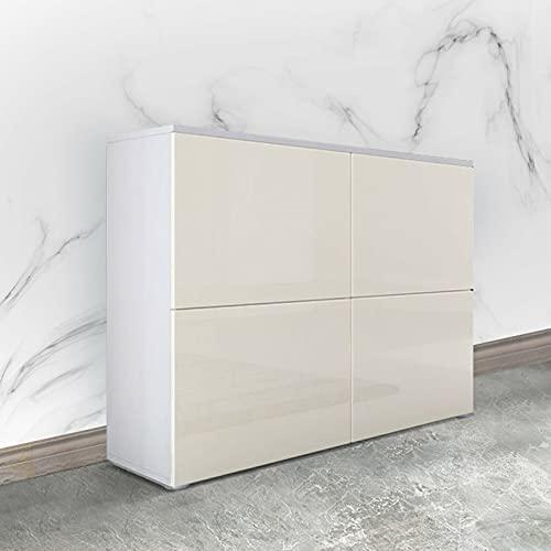 Hellgelbe Buffet-Kommode mit Vier Fächern Hochglanz-Schrank Schrank Sideboard Wohnzimmer