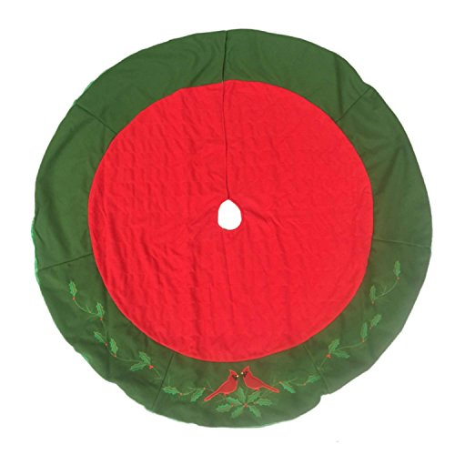 Quilted Red Cardinal Christmas Tree Skirt 48 Inch Holiday Bird Decor