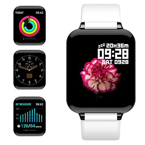 jpantech Smartwatch Donna Uomo Orologio Fitness Schermo a Colori Impermeabile IP68 Intelligente Pressione Sanguigna Cardiofrequenzimetro per iPhone Android Huawei Samsung (Bianco)