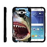 TurtleArmor | Compatible with Samsung Galaxy J7 (2015) Case | J700 [Dynamic Shell] Hybrid Duo Cover Hard Shell Kickstand Impact Absorber Silicone Sea Ocean Beach - Shark Attack