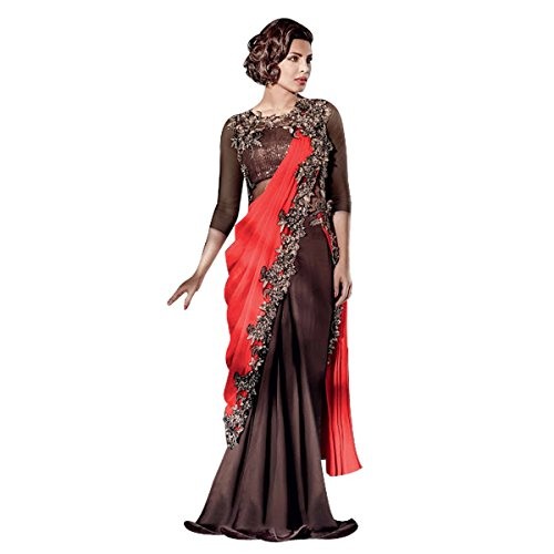 ETHNIC EMPORIUM damska Bollywood Priyanka Chopra Lycra Suknia sari z kopertą Sari Bluzka imprezowa Ponadczasowy hit