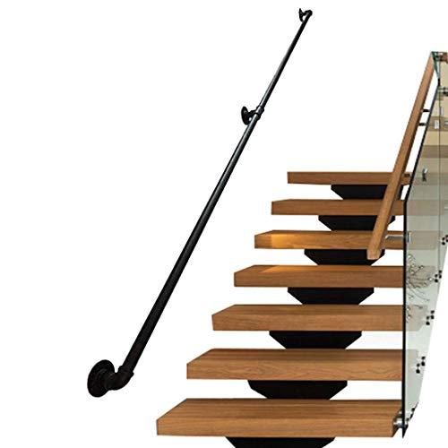 HRSS Handläufe für Treppen im Innen- und Außenbereich | Handlauf für Behinderte, ältere Menschen oder Kinder in Treppe innen oder außen | Geländergeländer aus schwarzem Metall (Größe: 250 cm)