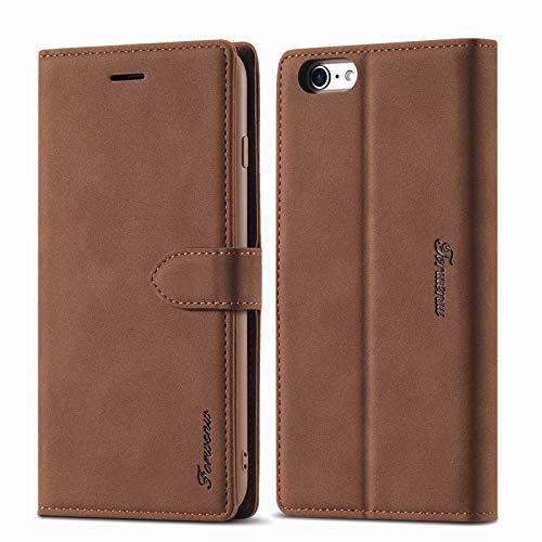 LOLFZ Funda tipo cartera para iPhone 6, para iPhone 6S, funda de piel vintage, soporte para tarjetas, cierre magnético, tapa con tapa, color marrón