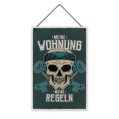 Fashionalarm Holzschild - Meine Wohnung - Meine Regeln Bedruckt | Deko-Schild mit Spruch und Totenkopf-Motiv als Geschenk-Idee für Männer Einzug, ca. 20x30 cm, 8 mm