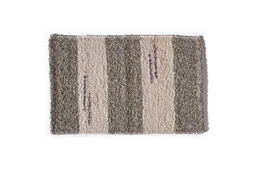 Alfombra baño para ducha y exterior, de algodón suave muy absorbente, Fabricada a Mano en España, Artesanal, lavable en lavadora y secado rápido (Gris Andina)