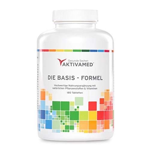Basis-Formel Aktivamed Premium Multivitamin + Multimineral mit Vitamin C bis zu 800mg & D3 - 180 Tabletten hochdosiert für 3 Monate - Über 32 Vitamine, Mineralien & Spurenelemente inkl. komplettem B-Komplex in einem Produkt. Mit Metafolin (verwertbarer Folsäure) & L-Acetylcystein (Glutathionsynthese)