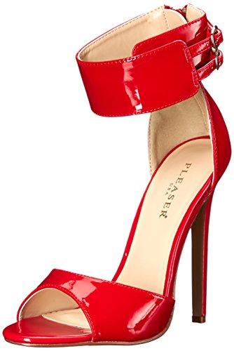 Pleaser Sexy-19 High Heels Fetisch Riemchen Sandaletten Lack Rot 35-45 Übergrösse, Größe:EU-35 / US-5 / UK-2