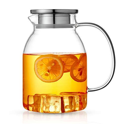 ANBET 1500ml / 53oz Caraffa per l'acqua in caraffa di vetro con filtro e coperchio in acciaio inossidabile, maniglia resistente al calore e cristallo per succo di frutta fatto in casa, tè freddo