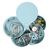 Colmanda Caja Joyero Organizador Rotación 360°, Caja Joyería, Joyero 4 Capas Redondos, Portátil Joyero Viaje Cajas para Joyas Jewelry Organizer para Mujer Anillos, Aretes, Pulseras Collares (azul)