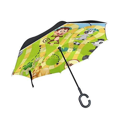 Top Carpenter Guarda-chuvas invertidos, camada dupla, jogo de animais com alça em forma de C para carro ao ar livre