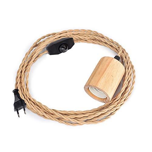 Holz Pendelleuchte Kabel Kit Mit Dimmbarem Schalter, 16.4 ft Vintage Industrie Hängelampe Plug in Lampenkabel mit verdrehten Nylon Seil Pendelleuchten Sockel E26 E27 für Bauernhaus Lampenkabel Retro