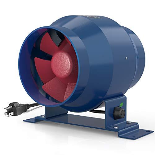 Ventilador de conducto en línea TURBRO AirSupply ES4 de 4 pulgadas, 195 CFM de eficiencia energética con motor EC controlado de velocidad variable para tiendas de cultivo, hidropónico, ventilación industrial y residencial