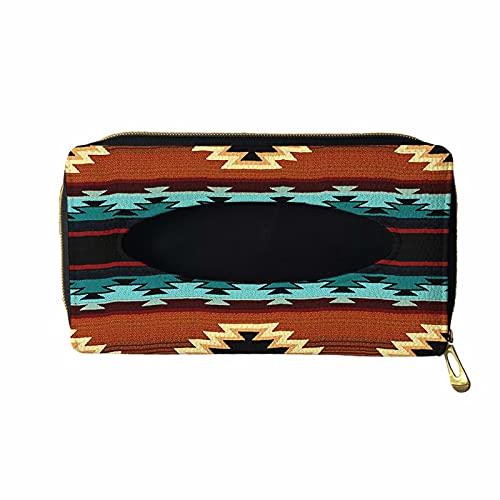 XYZCANDO Native Indian Style Orange Car Tissue Holder, Premium Leather Backseat Tissue Case Holder for Auto, Vehicle, Hanging Tissue Box, Car Visor Tissue Holder Dispenser, Sun Visor Napkin Holder