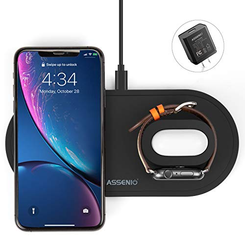 Apple 3 in 1 Wireless Charging Station for Apple Watch Series 5/4/3/2/1 & AirPods, Fast Charging Station for iPhone 11/11 pro/Xs Max/Xr/X/8/8 Plus, All qi-Enabled Devices, QC3. 0 Adapter Included