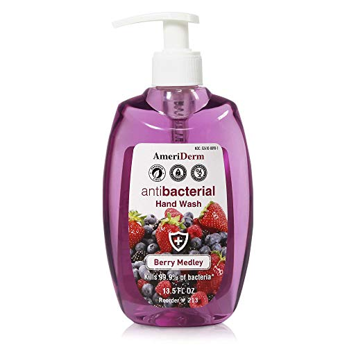 Ameriderm Premium Antibacterial Hand Wash – 99.9% Antibacterial Pump Hand Soap For The Whole Family - Berry Medley Scent Hand Liquid Soap For Sensitive Skin & Everyday Use - 13.5 fl oz