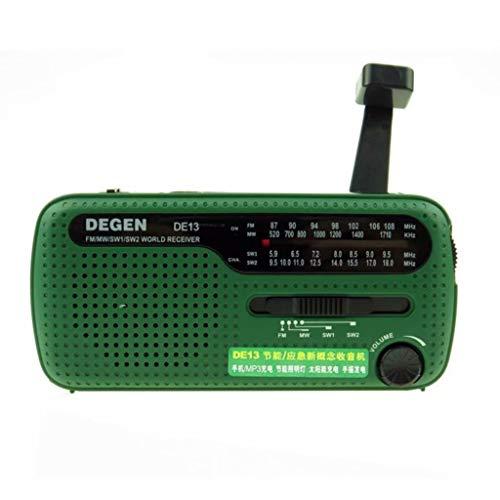 YZX Radio de Emergencia con manivela, Radio FM MW SW de Carga Solar multifunción de Banda Completa, Linterna de Altavoz incorporada (Verde,13.3×6.2×4.7CM)