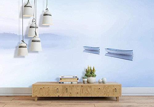 Hermoso papel pintado retro chino de canoa papel tapiz no tejido efecto 3D Mural decoración de pared papel t Pared Pintado Papel tapiz 3D Decoración dormitorio Fotomural sala sofá mural-350cm×256cm