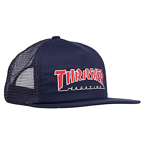 Thrasher Embroidered Outlined Mesh Hat - Navy Blue