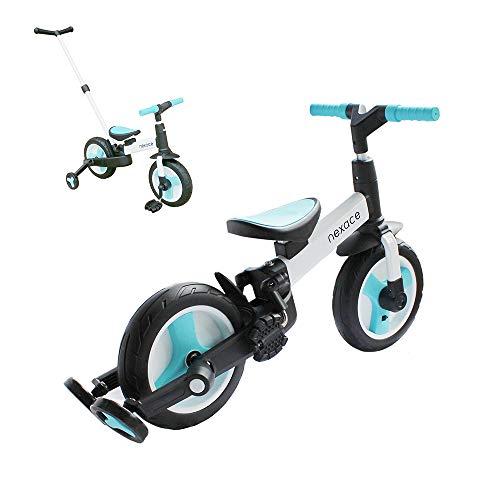nexace Laufrad ab 2 Jahre,Kinderdreirad Multi Dreirad,Kinderfahrrad mit Faltbaren Hilfsräde,mit Schubstange,Sattel und Lenker höhenverstellbar ,10 Zoll Räder (Blau)
