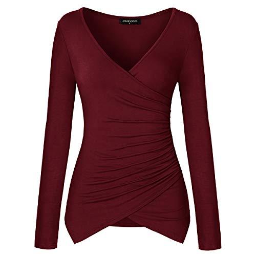 MIMIGOGO Women's Deep V Neck Long Sleeve Cross Wrap Pleated Slim Fit Shirts Tops Blouse MGU272-WRS Wine Red