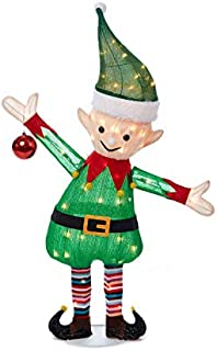 WWL 38 Inch Tall - Light-Up Holiday Christmas Tinsel Elf - Pre-Lit 50 Clear Lights