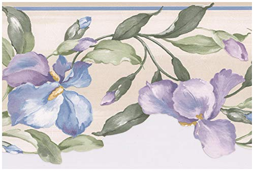 Prepasted Wallpaper Border - Purple Blue Flowers on Vine Scalloped Floral Wall Border Retro Design, Roll 15 ft. x 7 in.