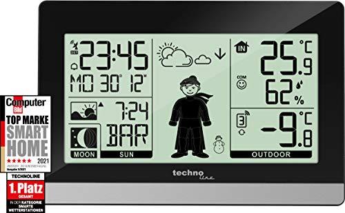 Technoline WS9612 moderne Wetterstation, schwarz