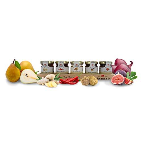 Brezzo Confezione Degustazione di Salse per Formaggi, Confetture in 5 Gusti Misti, Peso Tot. 198 Grammi