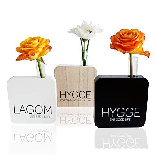Dekoratives Vasen-Set mit Reagenzglas - aus MDF und Glas - Blumenvase - Deko-Vasen - Tisch Deko