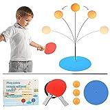 Juego de tenis de mesa de ping pong con elástico eje suave, 2 bates y 3 pelotas, juego de raquetas de ping-pong sin mesas equipo de entrenamiento para adultos y niños prevenir la miopía