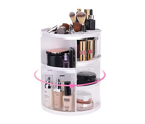 Ciujoy Schmink Aufbewahrung, Make Up Organizer 360° drehbar, Kosmetik Organizer mit Einstellbare Nagellack Lippenstift Pinsel Aufbewahrung, Praktisch für alle Make Up Zubehör (Weiß)