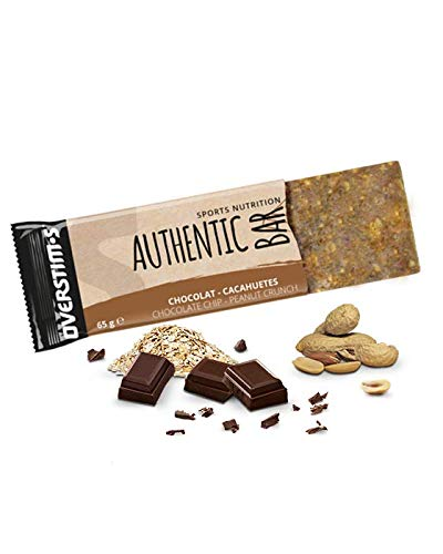 OVERSTIM.s – Authentic Bar (4 x 65g) – Chocolat Cacahuètes - Barre énergétique pour le sport – Energie progressive et antioxydante - Ingrédients de qualité – Saveurs gourmandes